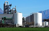 Biochemical industry plant with rows of storage tanks in front