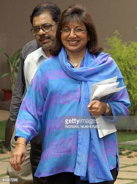 Biocon Limited Chairwoman Founder and Managing Director Kiran MazumdarShaw arrives for a press conference at the company headquarters on the...