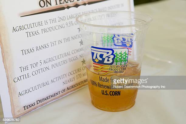 A biodegradable compostable plastic cup made from corn is used to serve iced tea at a Texas legislative luncheon at the State Capitol The ecofriendly...