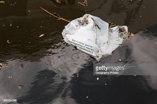 Biodegradable plastic bag in water