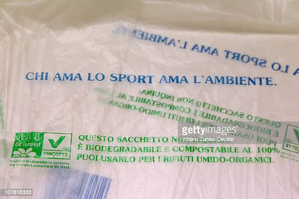 A biodegradable shopping bag carries messages on December 30 2010 in Milan Italy Italy who currently use approximately 20 billion plastic bags per...