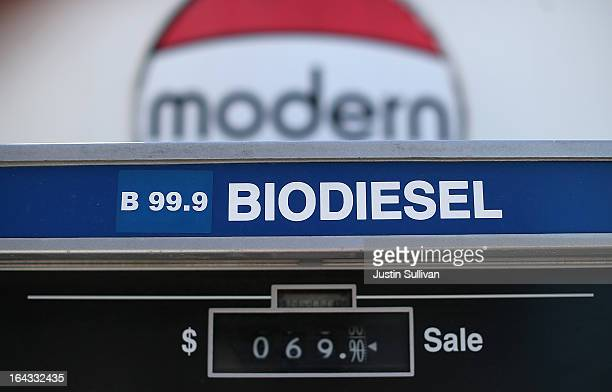 A biodiesel pump is seen at Dogpatch Biofuels on March 22 2013 in San Francisco California According to a report by San Francisco based nonprofit...