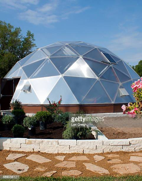 Biodome greenhouse with solar panels