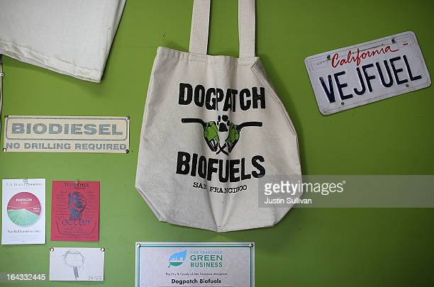 Biofuel related items are displayed on the wall at Dogpatch Biofuels on March 22 2013 in San Francisco California According to a report by San...
