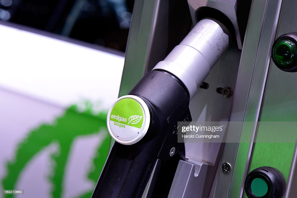 A biogas fueling nozzle is seen during the 83rd Geneva Motor Show on March 6 2013 in Geneva Switzerland Held annually with more than 130 product...