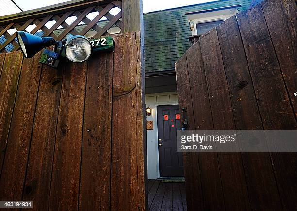 Biohazard stickers are taped on the condominium doors of University of North Carolina dentistry student Deah Shaddy Barakat his new wife Yusor...