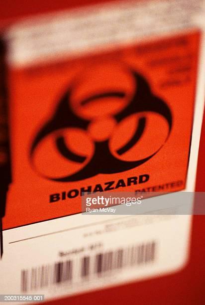 Biohazard warning label, close-up