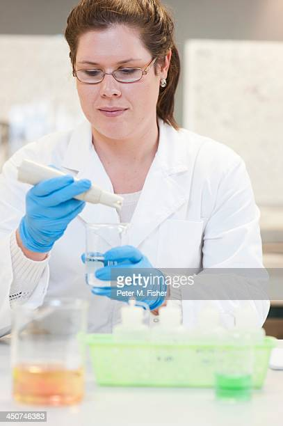 Biologist studying water quality