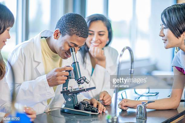Biology Lab Examination with a Microscope