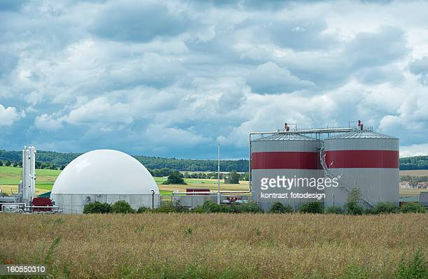 Biomass energy plant in a rural landscape, Energiewende