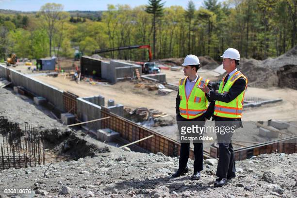 A biomedical complex is being constructed at a site at 828 Winter Street in Waltham MA on May 10 2017 KSP developers Tyson Reynoso left and Stephen...