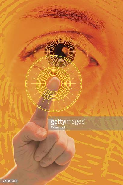 Biometric security fingerprint and eye