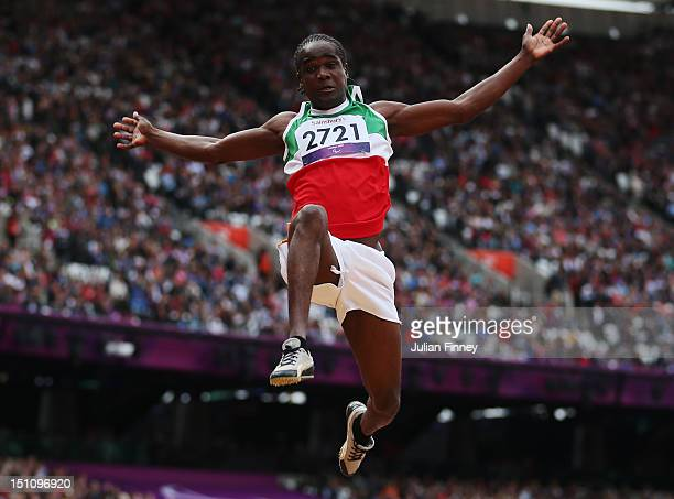 Biondi Misasi of Suriname competes in the Men's Long Jump F13 on day 3 of the London 2012 Paralympic Games at Olympic Stadium on September 1 2012 in...