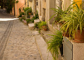 A view down a narrow street of doorways with plants on the front stoops in a French village.