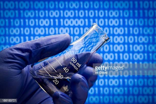 Biotech Binary Code and flask