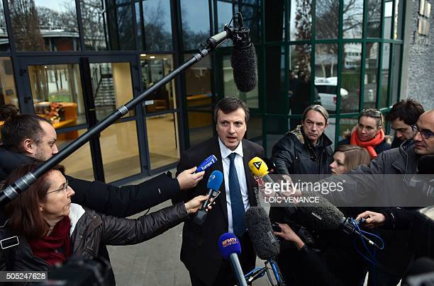 Biotrial general director Francois Peaucelle gives a press point on January 16 2016 in Rennes western France French authorities launched three...