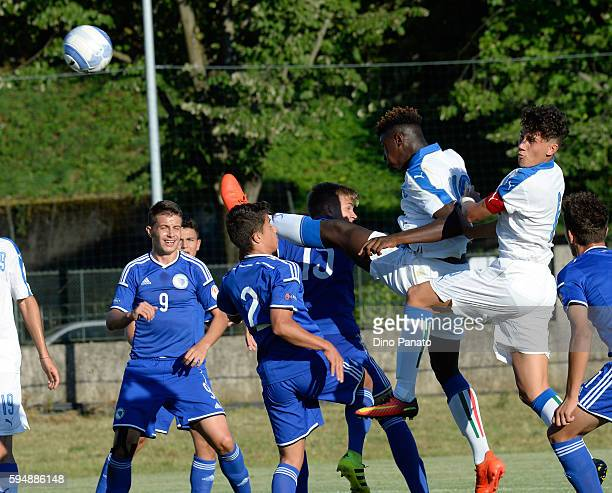 Bioty Moise Kean and Davide Bettella of Italy U16 in action during the International Friendly between Italy U16 and Bosnia U16 at Stadio Enzo Bearzot...