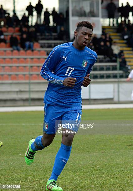 Bioty Moise Kean of Italy U17 celebrates after scoring his team's second goal during the international friendly match between Italy U17 and Serbia...