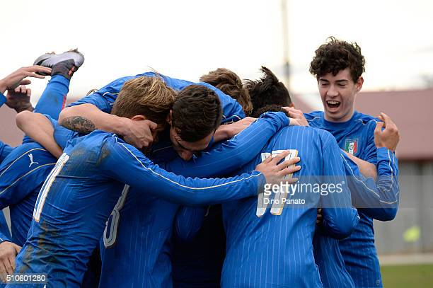 Bioty Moise Kean of Italy U17 celebrates with their team mate's after scoring his team's second goal during the international friendly match between...