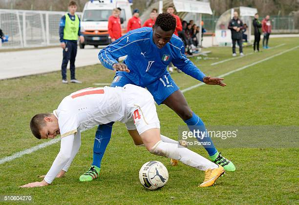 Bioty Moise Kean of Italy U17 competes with Ranko Veselenovic of Serbia U17during the international friendly match between Italy U17 and Serbia U17...