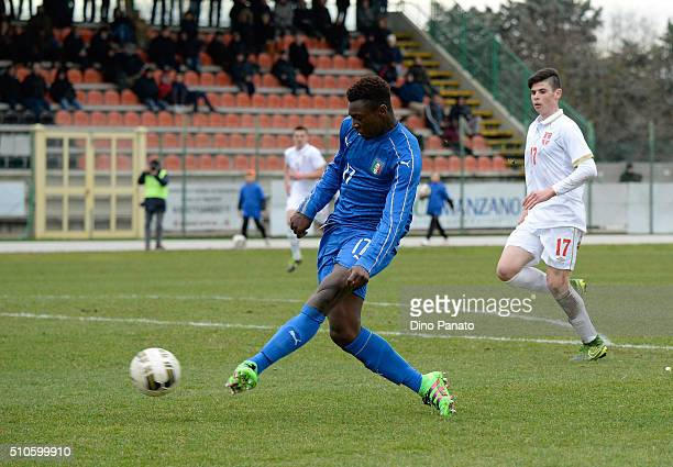 Bioty Moise Kean of Italy U17 scores his team's seconf goal during the international friendly match between Italy U17 and Serbia U17 at Stadio...