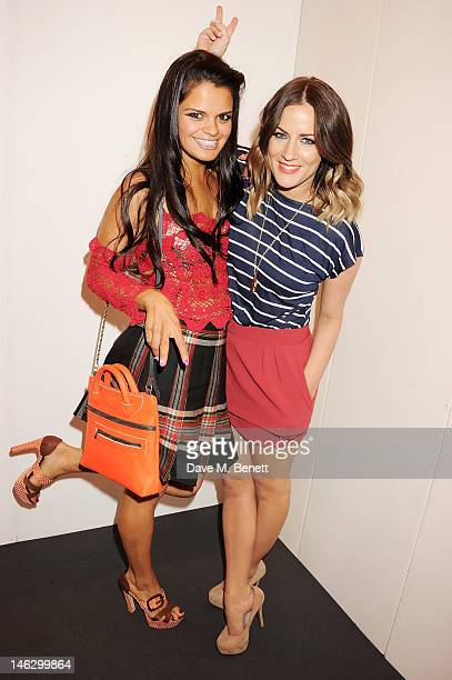 Bip Ling and Caroline Flack attend a preshow drinks reception at the Graduate Fashion Week 2012 Gala Show at Earls Court 2 on June 13 2012 in London...