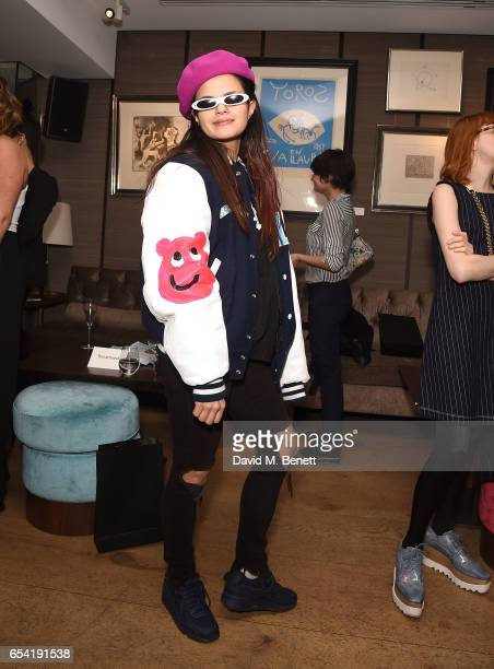 Bip Ling attends the ICONIC PR LND and PerrierJouët art presention of works by Picasso Miro Matisse Chagall at QP LDN on March 16 2017 in London...
