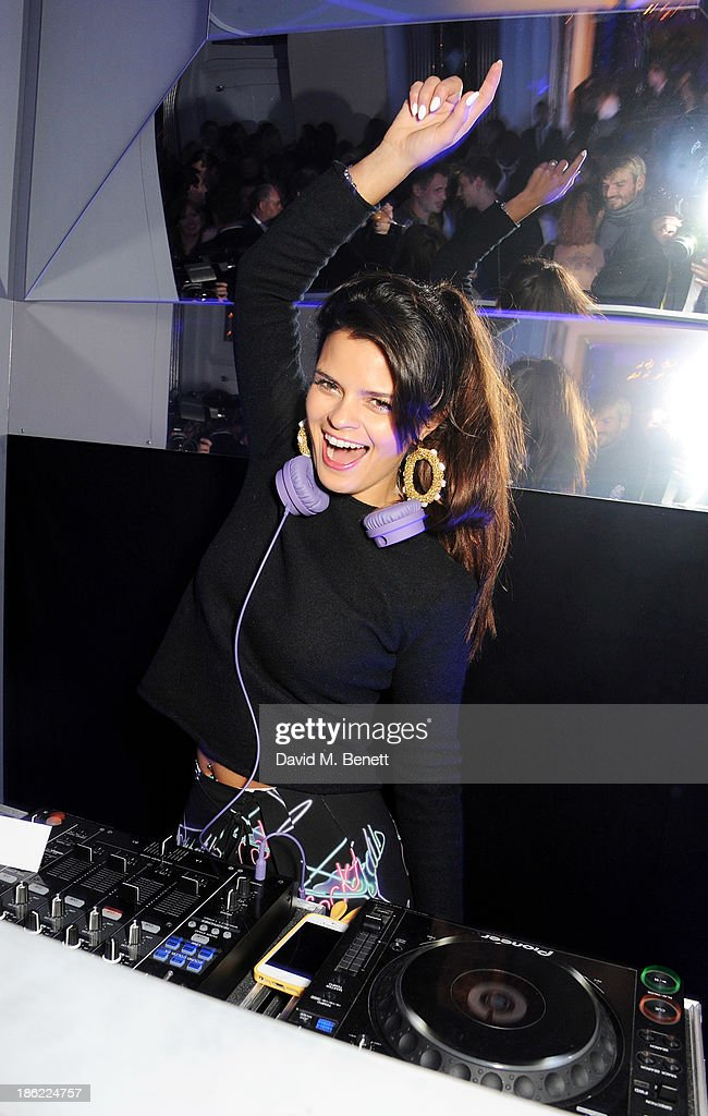 <a gi-track='captionPersonalityLinkClicked' href=/galleries/search?phrase=Bip+Ling&family=editorial&specificpeople=5953668 ng-click='$event.stopPropagation()'>Bip Ling</a> DJ's at the John Frieda party celebrating 25 years of transforming women's hair at Claridges Hotel on October 29, 2013 in London, England.
