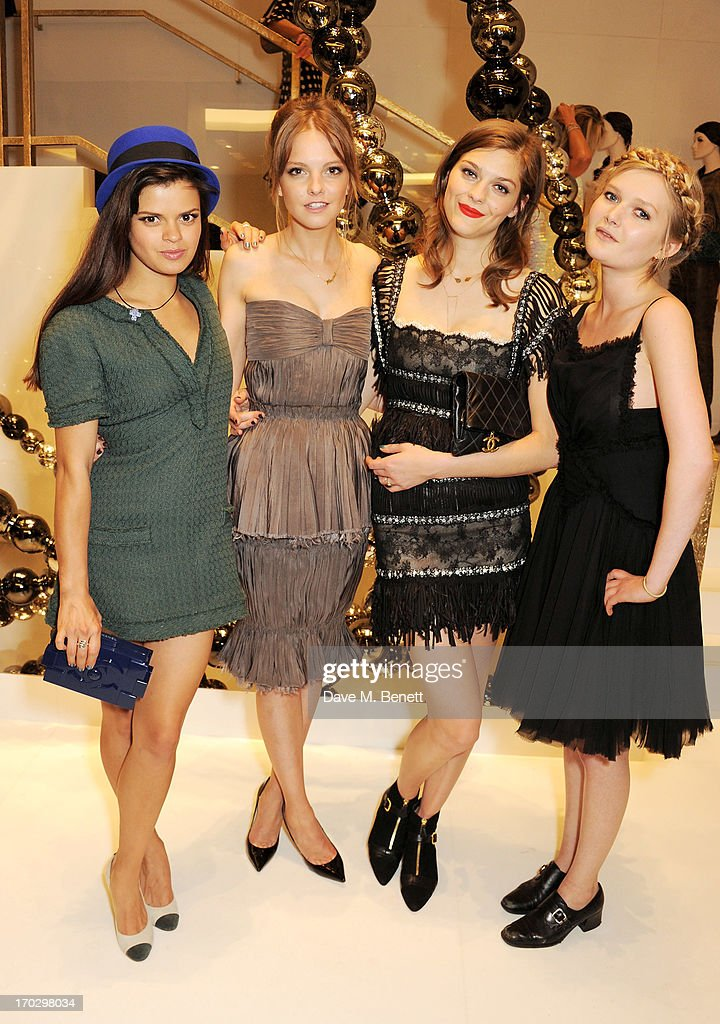 (L to R) Bip Ling, Laura Hayden, Amber Anderson and Sophie Kennedy Clark attend a private view of the new CHANEL flagship boutique on New Bond Street on June 10, 2013 in London, England.