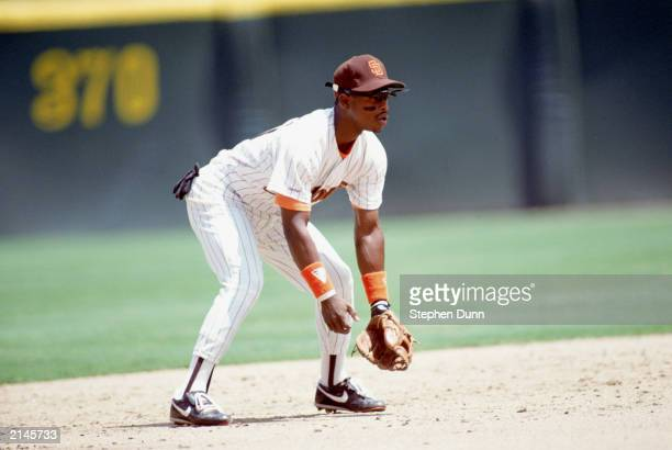 Bip Roberts of the San Diego Padres looks for the ball during the 1990 season