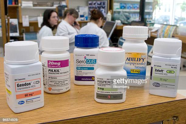 Bipolar treatments Geodon Paxil Seroquel Risperdal Abilify and Zoloft sit on a shelf for an illustration at Skenderian Apothecary in Cambridge...