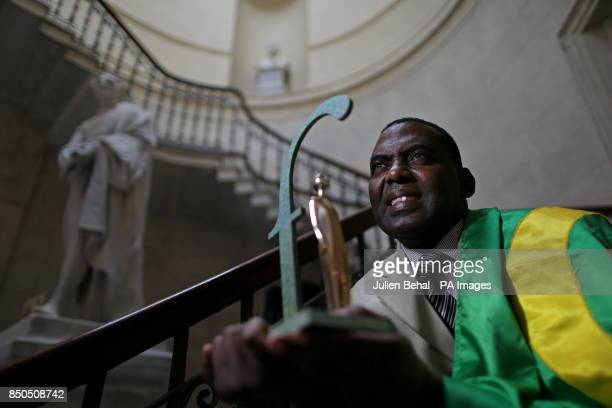 Biram Dah Abeid from Mauritania with his 2013 Front Line Defenders Award for Human Rights Defenders at Risk in City Hall Dublin