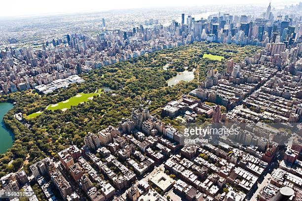 bird eyes view of manhattan with central park