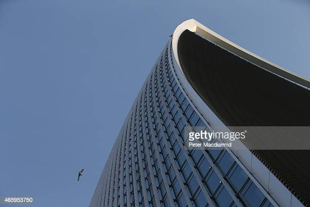 A bird flies near 20 Fenchurch Street on March 12 2015 in London England Number 20 Fenchurch Street is London's newest skyscraper known locally as...