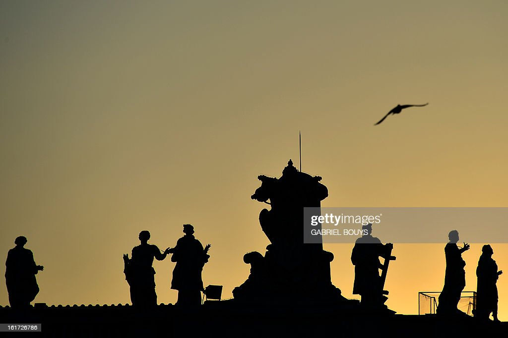 A bird flies over statues of St Peter's square on February 14, 2013 at the Vatican. Pope Benedict XVI on the same day called for 'real renewal' in the Church at an emotional farewell with priests from his Rome diocese where he said he would be 'hidden from the world' once he resigns.