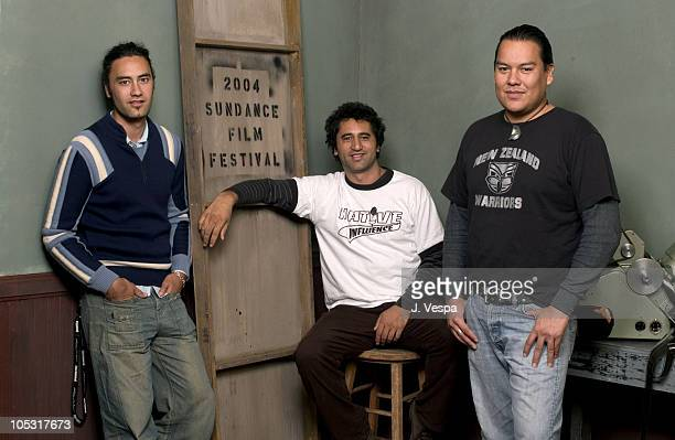 Bird Runningwater Taika Waititi and Cliff Curtis during 2004 Sundance Film Festival 'Two Cars One Night' Portraits at HP Portrait Studio in Park City...