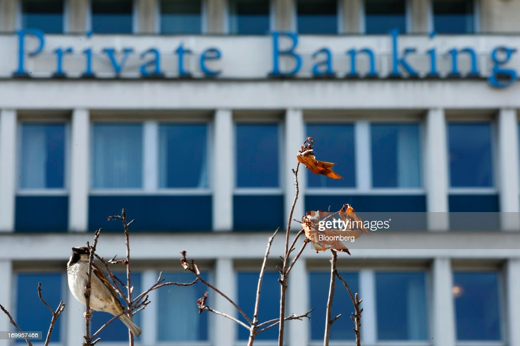 A bird sits on a tree outside the Lloyds TSB Private Banking offices, part of Lloyds Banking Group Plc, in Geneva, Switzerland, on Wednesday, June 5, 2013. Members of the Swiss parliament's upper house's economic committee have been debating a law which, if passed, could authorize Swiss banks to cooperate with U.S. authorities. Photographer: Valentin Flauraud/Bloomberg via Getty Images