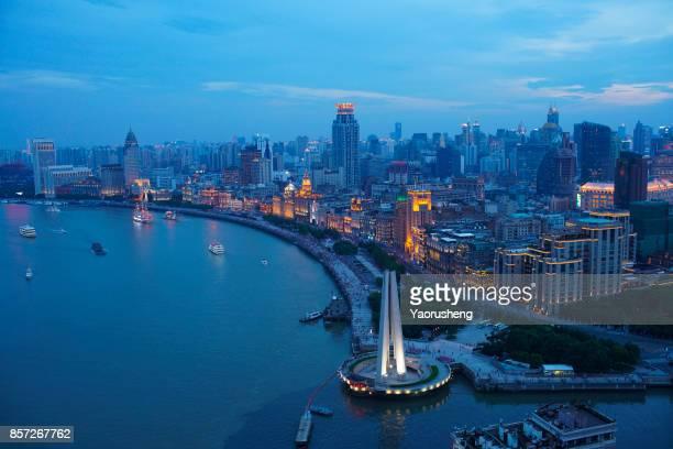 bird view of night Shanghai bund