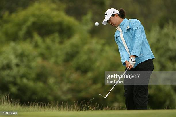 Birdie Kim of Korea plays a shot during practice for the 2006 US Women's Open on June 28 2006 at Newport Country Club in Newport Rhode Island