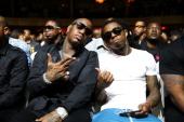 Birdman and Lil Wayne attend the 2013 BMI RB/HipHop Award at Hammerstein Ballroom on August 22 2013 in New York City