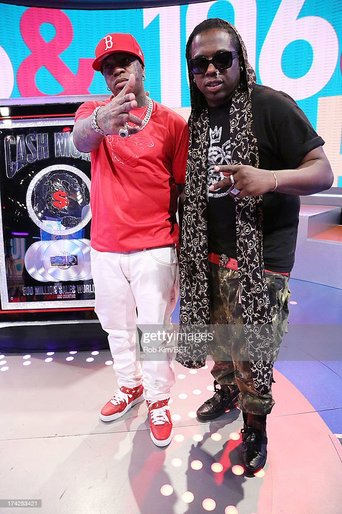 Birdman (L) and producer Detail at BET's 106 and Park at BET Studios on July 22, 2013 in New York City.