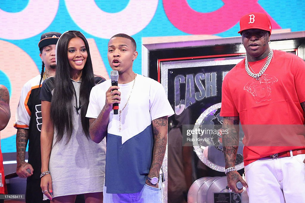 Birdman (in red) with hosts <a gi-track='captionPersonalityLinkClicked' href=/galleries/search?phrase=Bow+Wow+-+Rapper&family=editorial&specificpeople=211211 ng-click='$event.stopPropagation()'>Bow Wow</a> and <a gi-track='captionPersonalityLinkClicked' href=/galleries/search?phrase=Angela+Simmons&family=editorial&specificpeople=653461 ng-click='$event.stopPropagation()'>Angela Simmons</a> at BET's 106 and Park at BET Studios on July 22, 2013 in New York City.