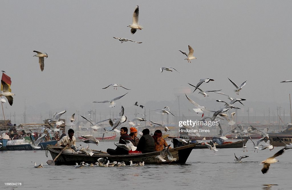 Birds at the bank of Sangam confluence of river Ganga, Yamnuna and mythical Saraswati on the occasion of Makar Sankranti on January 15, 2013 in Allahabad, India. Kumbh is World's biggest religious gathering, in which more than 100 million of Hindus and sikh devotees will take part over next 55 days. Apart from being pilgrimage of faith, salvation and hope for millions of devotees, it also serve as meeting ground for the vast spectrum of Indian religious and spiritual views.