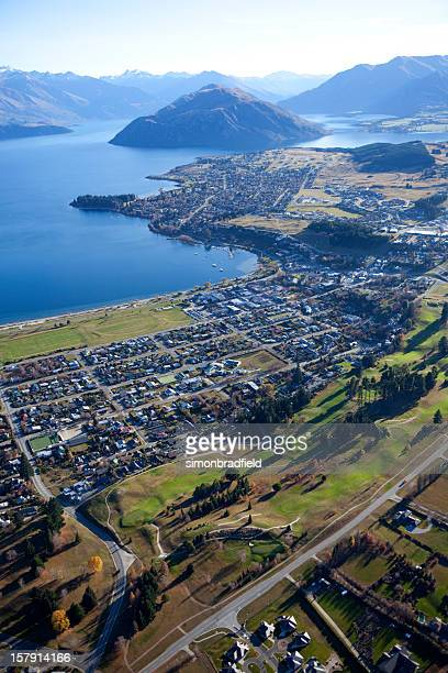 Bird's eye view in the air of Wanaka