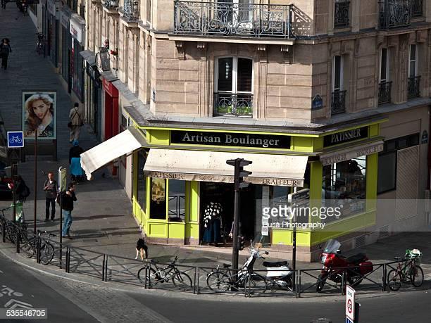 Bird's eye view of a Boulangerie in Paris
