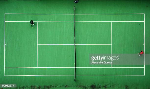 Bird's eye view of a tennis match