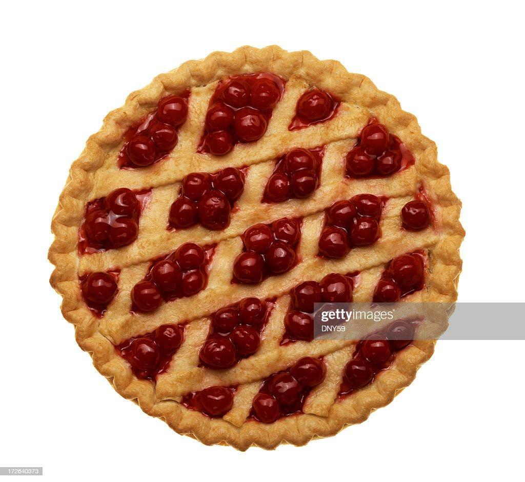 Bird's eye view of cherry pie isolated on white background
