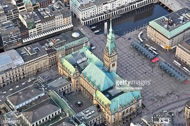 Bird's eye view of city hall, Hamburg, Germany, Europe