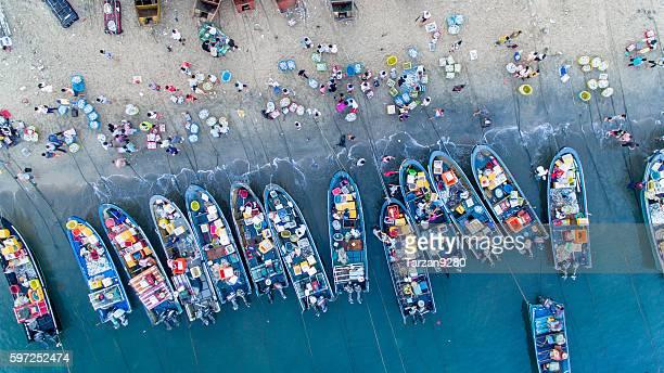 Bird's eye view of fishing market on beach, China