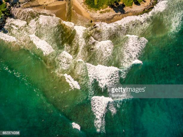 Bird's eye view of Los Caracas surfing beach, Vargas State, Venezuela taken from open ocean in the Caribbean sea.